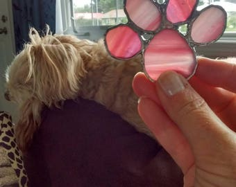 Pink puppy paw - dog paw ornament - puppy paw - dog lover gift - stained glass paw print - glass paw print - stained glass lover - glass