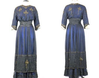 Antique Edwardian Titanic Gown, Silk Soutache Bullion Embroidered Net Lace 1910s Dress with Sapphire Blue Silk Lining, Rare Superb Condition