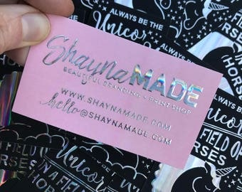 Hairstylist business cards etsy holographic business cards raised unicorn foil makeup artist hairstylist photographer wedding reheart Images