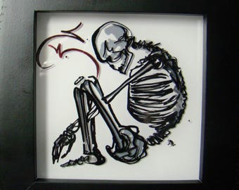 Yoga Bones -  Tiny Reverse Painting - 5