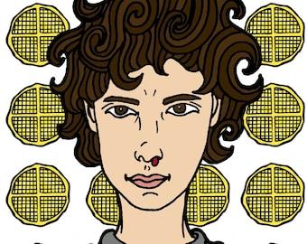 Stranger Things 2 Eleven Waffles art print