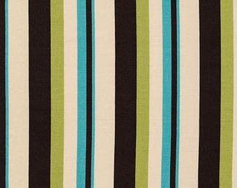 Denyse Schmidt Fabric, Ansonia Wide Stripe, Mossy, Green Blue Black, PWDS064.MOSSY