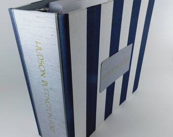 Baby Memory book Navy White Stripe personalized baby book- baby Shower Gift -Keepsake pregnancy diary journal