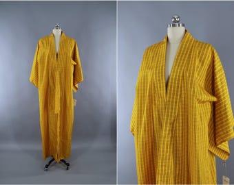 1980s Vintage Kimono Robe / Wedding Dressing Gown Lingerie / Downton Abbey Art Deco / Yellow Plaid