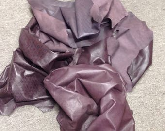 OSM805. Assorted  Burgundy Printed Leather Lambskins