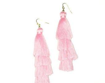 Pink Silk Tiered Tassels stacked drop earring