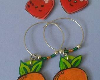 strawberry and orange hoop and bead earrings