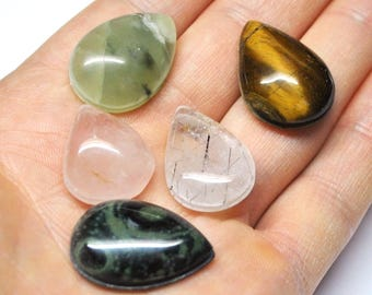 Grooved Tear Drop Cabochons Mix Natural Gemstones Macrame Micromcramé Wire Woven Design - 5 Cabs - 19.5-25.0 mm - 102.7 ct - 170604-26