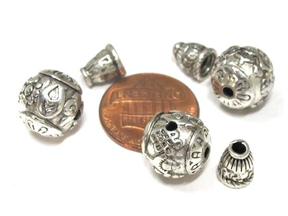 1 Guru bead set - Tibetan silver ashtamangala symbols 3 hole Guru bead 12 mm size and om mantra column bead - GB058