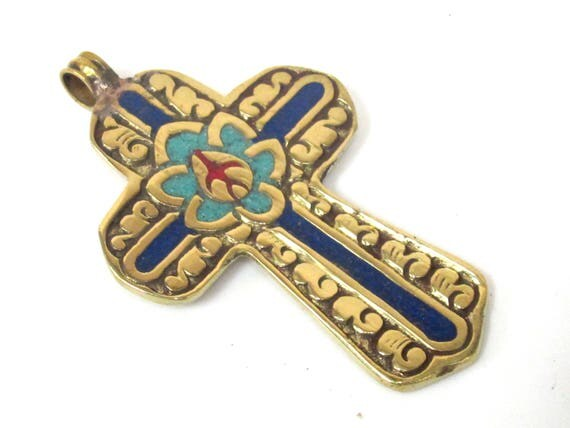 1 Pendant - Reversible Tibetan solid Brass lotus floral filigree cross Pendant with turquoise coral lapis inlay - PM564A