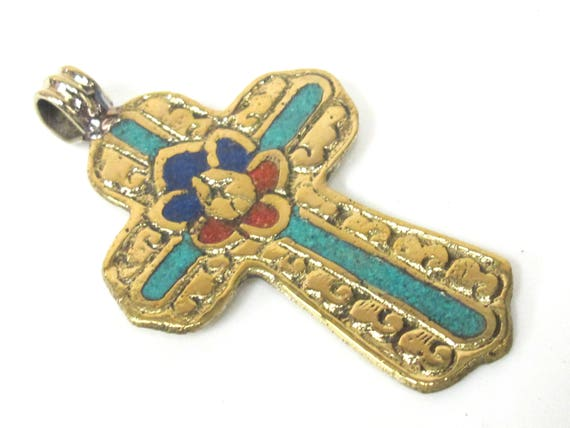 1 Pendant - Large Tibetan solid Brass cross pendant with lotus floral carving turquoise coral lapis inlay - PM565C