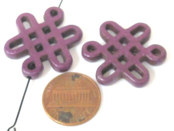 2 beads - Tibetan infinity knot symbol magnesite beads - Purple color - GM155C