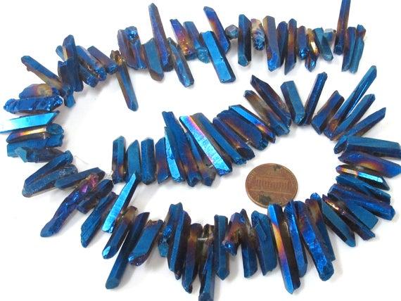 1 full strand 15.5 inches - Electrifying mystic blue titanium quartz points needle stick shape beads - GM436
