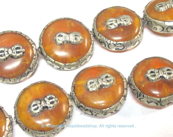 1 Bead - Reversible Large size Tibetan silver encased copal resin dorje vajra symbol  bead  - BD524B