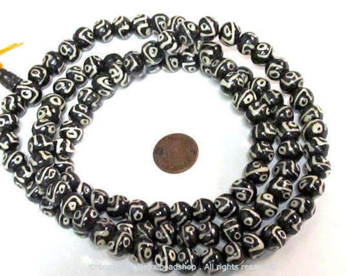 108 beads - Tibetan Nepal batik bone beads dzi eye design  10 mm size with guru bead mala making supplies -  ML104A