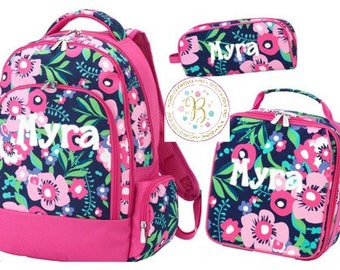 3 Piece Monogrammed Posie Backpack SET- Backpack, Lunchbox, Pencil Pouch