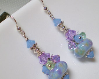 Pastel Abstract Lampwork Cluster Earrings, Abstract Earrings in Powder Blue, Violet and Pale Green