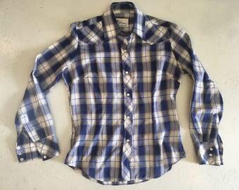 Vintage Women's Western Plaid Texson Shirt, Blue and White