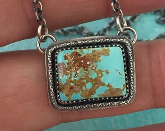 Rectangle Turquoise Necklace, Southwestern Necklace, Southwestern Jewelry