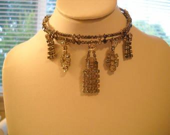 Repurposed Vintage Art Deco Style CHOKER Necklace Rhinestones Dangles FREE SHIPPING