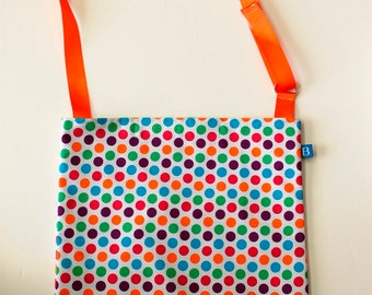 Washable, Eco-Friendly Car Trash Bag in Multi Colored Dots Fabric