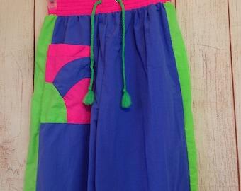 Vintage 90s Sporting Life Neon Colors Elastic Waist Pants ladies Small