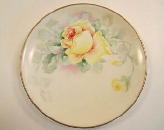 Antique Hand Painted Limoges Plate A. Lanternier & Co. France Yellow Roses Gold Rim