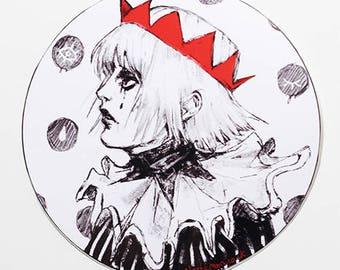 "3.5"" Plasticmoon Circus Clown Vinyl Sticker, Pierrot Vinyl Sticker, Circus Clown Sticker, Pierrot Sticker, Pierrot Artwork, Sad Clown Art"