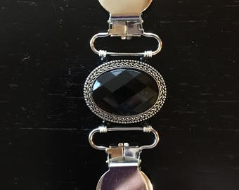 Black stone and silver Handmade Clothing Cinch Clip