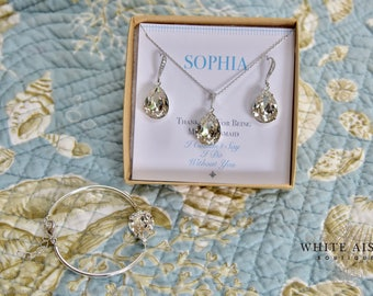 Bridesmaid Gift, Bridesmaid Jewelry Set, Bridesmaid Earrings, Necklace and Bracelet Set, Personalized Bridesmaid Gift, Wedding Jewelry Set