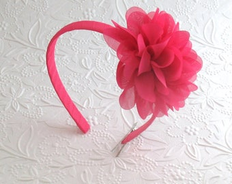 Hot Pink Flower Headband ~ Toddlers, Girls Chiffon Flower Hard Headband ~ Easter Headband