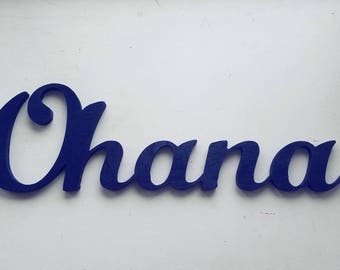 Ohana Family Wood Sign, Connected Letters, Navy Blue or Other Colors, Living Room Decor, Entryway, Hawaiian decoration