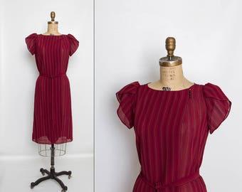 vintage 80s striped maroon dress with tie belt