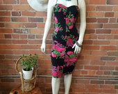Betsey Johnson vintage label 80s 90s stretchy wiggle dress ruched black pink rose print halter top or strapless