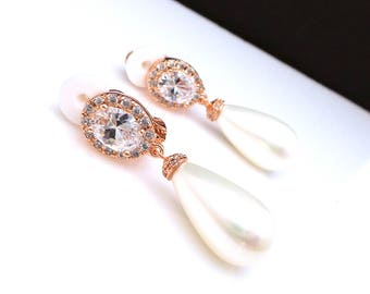 wedding jewelry bridal earrings bridesmaid gift christmas prom teardrop white or light cream shell pearl rose gold cubic deco oval clip on