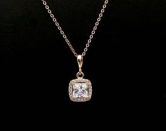wedding necklace bridal necklace bridesmaid gift prom square princess cushion cut clear white AAA cubic zirconia rose gold pendant necklace
