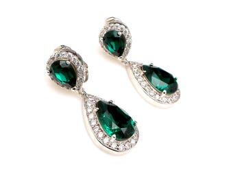 CLIP ON wedding jewelry bridal christmas prom bridesmaid gift Clear white teardrop AAA cubic zirconia swarovski emerald crystal teardrop