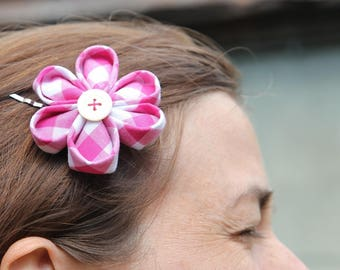 Hair clip KANZASHI flower of Japan 'Gingham' colors to choose