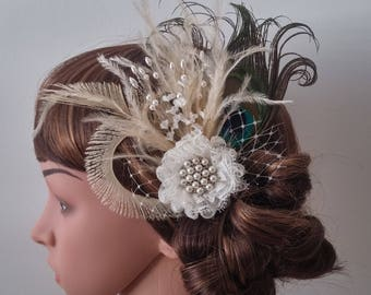 Bridal Fascinator,Wedding feathers fascinator, bridal Feathers Fascinator, Hair Accessories,bridal head piece