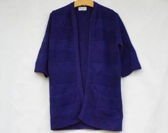 Vintage 50s-60s Women's Knit Sweater Coat/Open Cardigan By British Vogue Wintuk/Retro/Mid Century