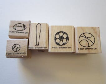 5 rubber stamps - SPORTS stamps - miniature stamps, basketball, baseball, football, soccer, Stampin Up 2007
