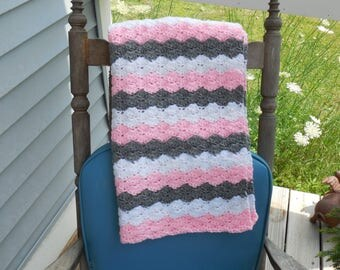 Baby Girl Pink White and Gray Crochet Baby Blanket Baby Afghan Crochet Photo Prop 24 x 31