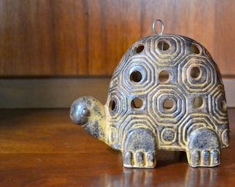 vintage retro hanging ceramic turtle candle holder / votive holder / rustic candle holder