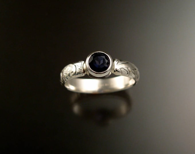 Iolite Natural gemstone sterling silver Sapphire substitute ring with Victorian floral pattern band made to order in your size