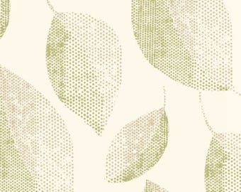 SS2261 Green Cream Camille Contemporary Textured Leaf Wallpaper - Yard