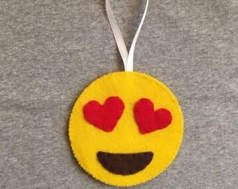 Heart Eyes Emoji Christmas Ornament