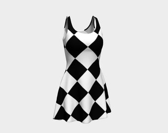 Harlequin Skater Dress | Size XS S M L XL | Bold Design Pattern | Party Dancing Ice Roller Skating | Short Fitted Sleeveless Mini Dress