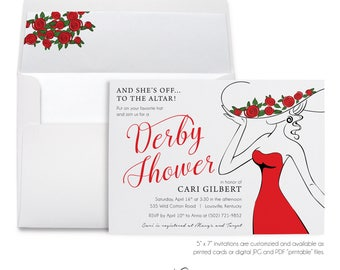 Derby Shower, Party Invitation, Kentucky Derby, Red Roses, Large Brim Hat, Bridal Shower, Formal Party, Printable Digital, Printed Invites