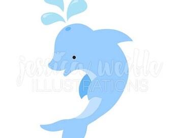 SALE Blue Dolphin Cute Digital Clipart, Dolphin Clip art, Cute Dolphin Graphic, Underwater, Ocean Animal Illustration, #004