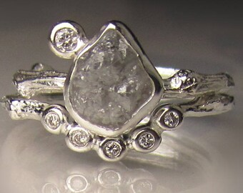 Silver Raw Diamond Engagement Ring, Rough Diamond Wedding Set, Uncut Diamond Twig Ring